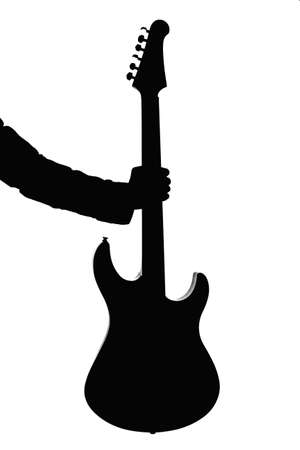 silhouette of an electric guitar in the hand of man