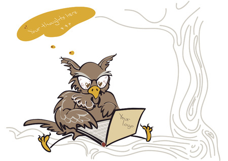 Thinking owl with a laptop autumn tones