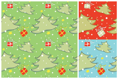 Seamless Christmas pattern in green, red or blue background Иллюстрация