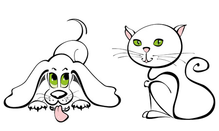 Cute kitty and doggie simple line art