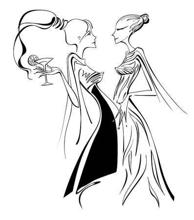 Fashion line art of two beautiful young ladies that are talking very closely  One woman is with a ponytail and is holding a cocktail glass  The other woman is with a hair bun and is smiling and gossiping friendly