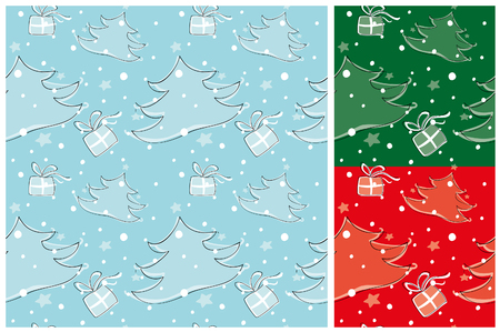 Seamless Christmas pattern with presents, stylized Christmas tree and falling snow and stars  Set of three pattern in green, red or blue Global color illustration  Vector