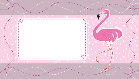 card design with pink flamingo on a pale background with dots