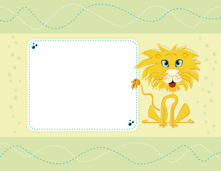 Vector card design with cute lion on a pale background with dots and seams, for birthday, invitation or celebration