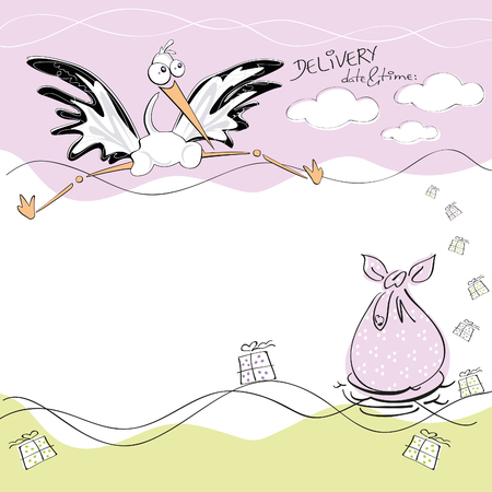 Birthday card with a cute white stork delivering a birthday sack in a nest and many presents