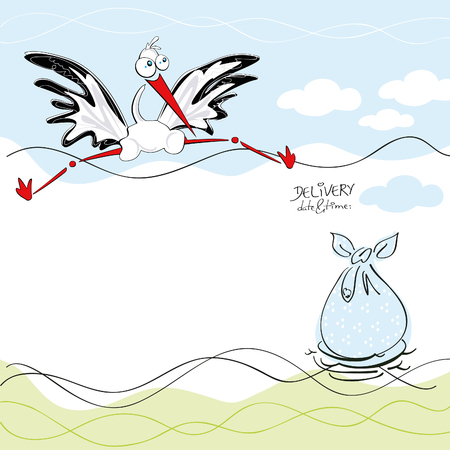 Birthday card with a cute white stork delivering a birthday sack in a nest