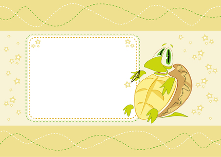 Birthday card with a cute little tortoise on its back