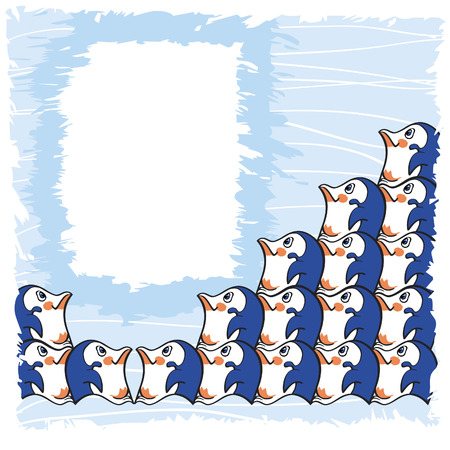 Greeting card design with cute group of penguins on a blue textured background
