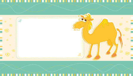 Vector card design with cute camel on a colorful background with spirals and seams, for birthday, invitation or celebration Иллюстрация