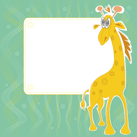 Vector card design with cute giraffe with hypnotic eyes on a pale green background with spirals and seams, for birthday, invitation or celebration