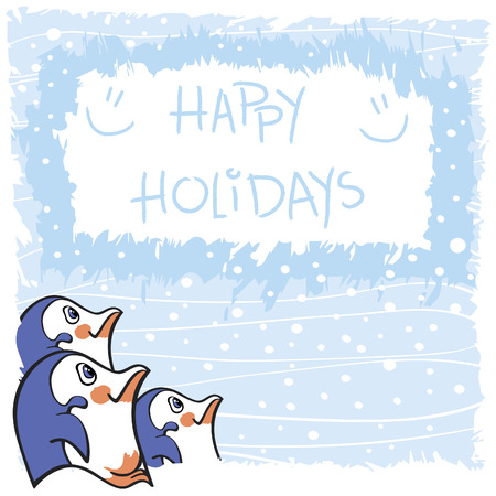 Greeting card design with three cute penguins on a blue textured background with snowflakes
