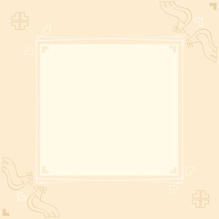 four leafs clover: Dise�o de la tarjeta del vector con aves estilizadas y adornos tradicionales en un fondo p�lido
