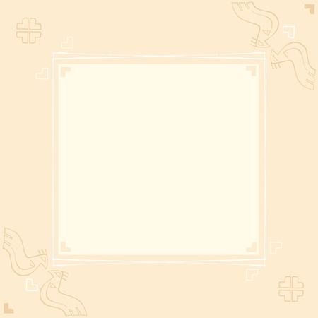 Vector card design with stylized birds and traditional ornaments on a pale background