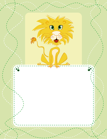 Vector card design with cartoon lion on a pale background with green and white seams, for birthday, invitation or celebration