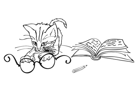 A vector illustration of a smart cute cat playing with dioptric eyeglasses, book and pencil