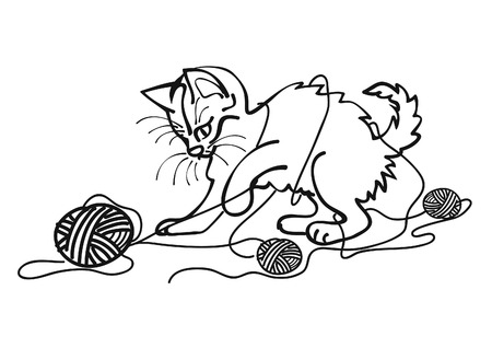 mischievous: Mischievous cat playing with yarn balls