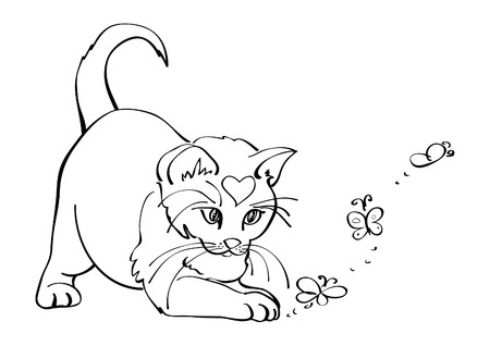 Cute white cat playing with butterflies, vector illustration
