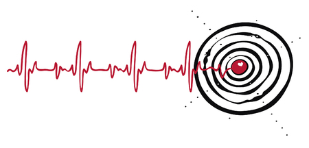 Vector illustration of cardiogram with a target in the heart