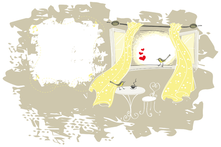 Card design with flirting and tweeting birds on an open window with yellow curtains on a textured background