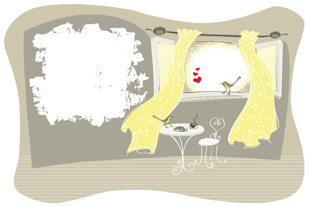 Card design with textured copy space with flirting birds on an open window with yellow curtains