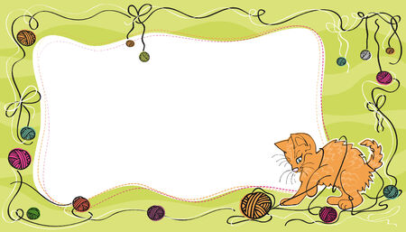 Vector card design with mischievous red cat playing with colorful yarn balls on a green background Vector