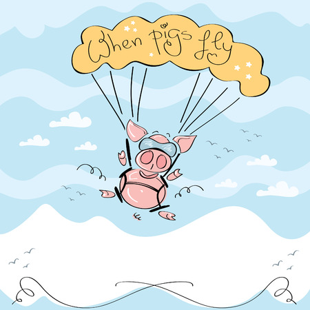 cute pig: When pigs fly, Vector illustration of cute pig flying with parachute on a wavy blue sky over a white mountain