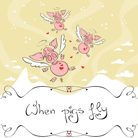 When pigs fly, Vector illustration of cute winged pigs flying in the sky over a white mountain Иллюстрация