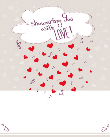 raining: Greeting card with raining hearts, musical notes and cloud, pale background with copy space, Vector illustration