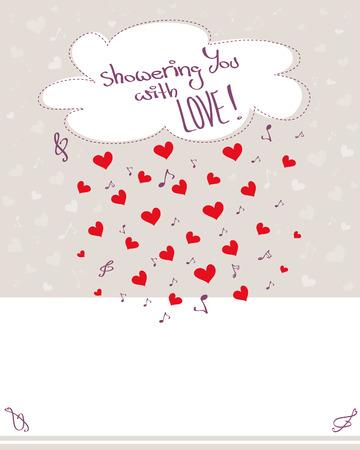 raining: Tarjeta de felicitación con corazones que llueven, notas musicales y la nube, fondo pálido, con copia espacio, ilustración vectorial