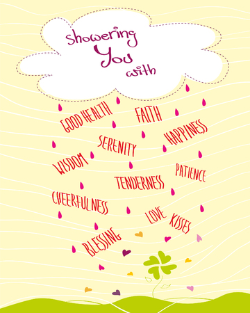 Greeting card with a cloud and raining words, hearts and raindrops, yellow background, Vector illustration Иллюстрация