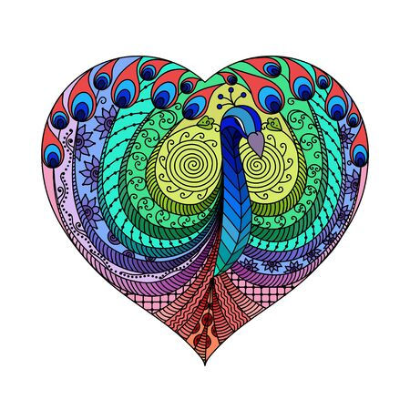 colorfully: Peacock multicolor in heart for Valentines Day Illustration