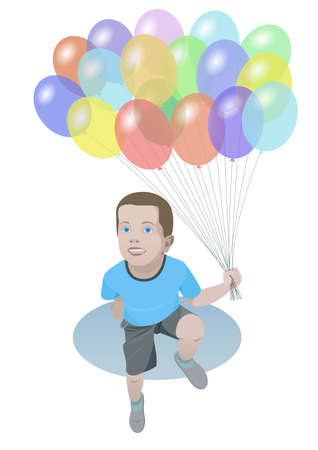 people looking up: Smiling boy with color balloons