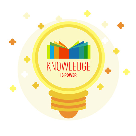 cognition: Flat icon in a bulb shape. Book in lamp with text: Knowledge is power. The concept of modern education, school, science, knowledge, learning. Vector illustration. Illustration
