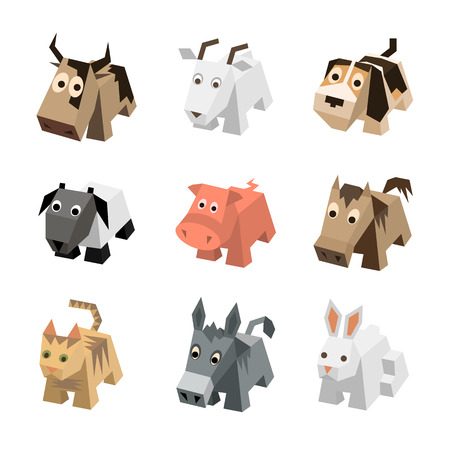 sf: Vector set sf different cartoon isometric 3d animals isolated: cow, goat, dog, ram, sheep, pig, horse, cat, kitten, donkey, rabbit, hare. Elements for 3d game. Icon collection of farm animals.