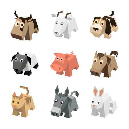 Wektor zestaw sf różne kreskówki izometryczne 3d zwierzęta na białym tle: krowa, koza, pies, baran, owca, świnia, koń, kot, kotek, osioł, królik, zając. Elementy do gry 3d. Kolekcja ikon zwierząt gospodarskich.