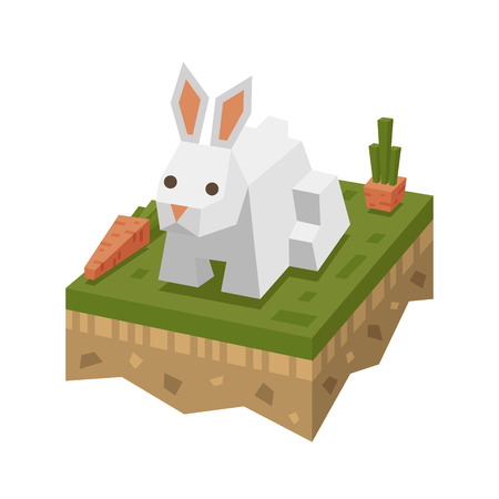 Isometric flat white rabbit on the tile of ground with grass and carrot. Geometric hare in isometry.  Isometric vector illustration - bunny on farm 3d land or soil tile.