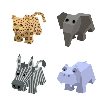Vector set of african isometric animals. Different cartoon isometric 3d animals isolated: elephant, leopard, zebra, hippo, hippopotamus. Elements for 3d game. Icon collection of african animals. Vector illustration art. Illustration