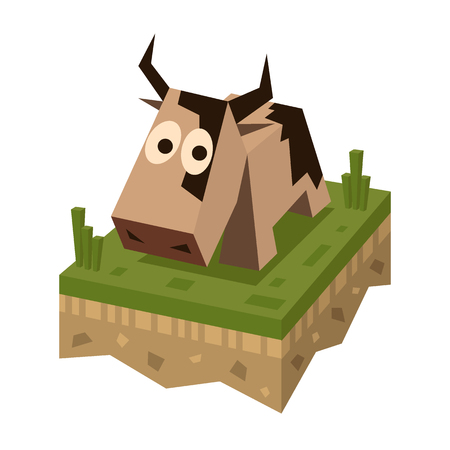 Isometric flat brawn cow on the tile of ground with grass. Geometric farm animal in isometry. Cow on 3d land or soil tile. Illustration