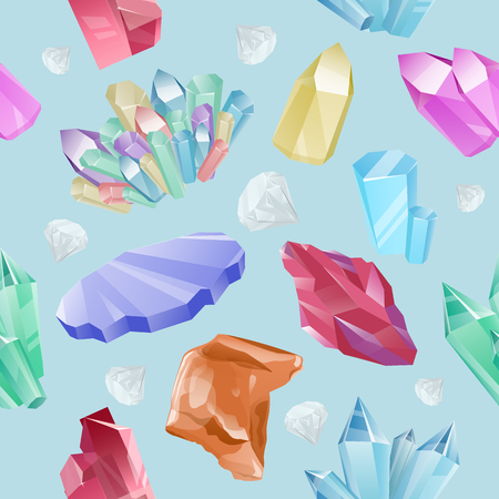 Vector pattern of colored minerals, crystals, gems and diamonds. Magic crystals of different forms on blue background. Isolated bright shining jewels of pink, blue and green colors