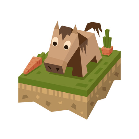 Isometric flat horse on the tile of ground with grass and carrot. Geometric animal in isometry. Vector illustration 3d farm land or soil tile.