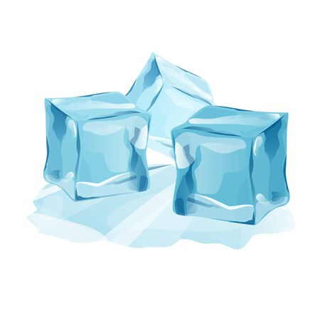 Set Isolated ice caps snowdrifts and icicles elements winter decor vector. Ice cube with transparency, 3d vector set. Snowy elements on white background. Template in cartoon style for your design Vetores