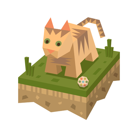 Isometric flat cat on the tile of ground with grass and ball. Geometric hare in isometry. Isometric vector illustration - bunny on farm 3d land or soil tile.