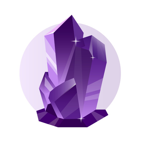 diamond stones: Violet ice crystal. Vector decorative crystal and mineral isolated on white. Bright shining jewel of lilac color