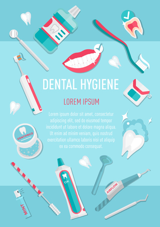 cleanliness: Medical teeth hygiene leaflet and banners template design vector with tools and equipment on blue background. Take care teeth.