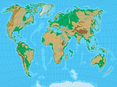 Mapa del mundo con el alivio. Todos los relieves se separan en capas editables. Ilustración del vector.