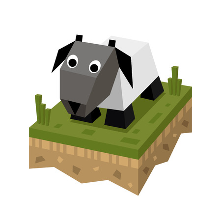 Isometric flat white sheep on the tile of ground with grass. Geometric ram in isometry.  Isometric vector illustration - mutton on farm 3d land or soil tile. Illustration