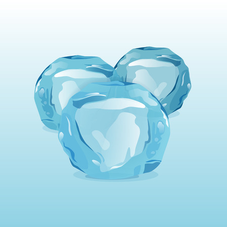 floe: Ice balls snowdrifts and icicles elements winter decor vector. Ice balls with transparency, 3d vector set. Snowy elements on blue background. Template in cartoon style for your design