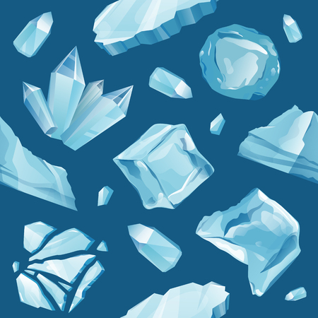 floe: Set Isolated ice caps snowdrifts and icicles elements winter decor vector. Ice cube with transparency, 3d vector set. Snowy elements on white background. Template in cartoon style for your design