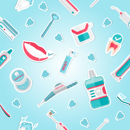 Medical teeth hygiene pattern vector with tools and equipment on blue background.