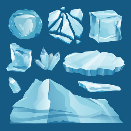 Set of ice caps snowdrifts and icicles elements winter decor vector on blue background. Ice cube with transparency, 3d vector set. Snowy elements on white background. Template in cartoon style for your design